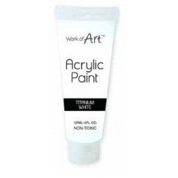 Titanium White Artists Acrylic Paint Tube Non Toxic 120ml Canvas Paper Fabric