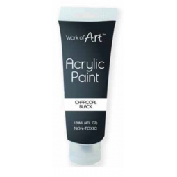 Charcoal Black Artists Acrylic Paint Tube Non Toxic 120ml Canvas Paper Fabric