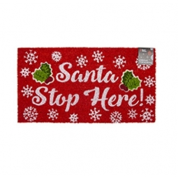 Stop Here Novelty Festive Christmas Door Step Mat Coir Rubber Backed 35cm X 65cm