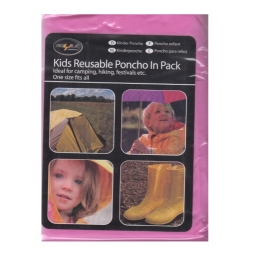 Pink Kids Reusable Waterproof Emergency Raincoat Travel Poncho One Size Hiking