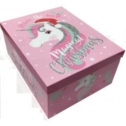 Medium Magical Glitter Christmas Unicorn XMas Eve Shoe Gift Box 38X30X17.5CM