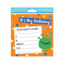 Pack Of 16 Kids Birthday Party Invitations With Envelopes 13.5cm Monster Design