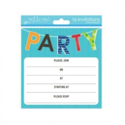Pack Of 16 Kids Birthday Party Invitations With Envelopes 13.5cm Party Design