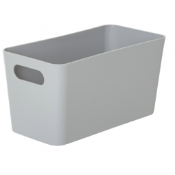 Grey Wham Plastic Slim Rectangle Studio Handy Storage Basket 20cm x 10cm 1.4L