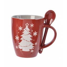Red Stoneware Christmas Drinking Mug & Spoon Gift Set With Christmas Tree Flakes
