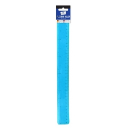 Blue Tallon Just Stationery Flexible Bendy 12 Inch Ruler Transparent Blue 30cm