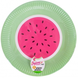 Pack Of 8 Watermelon Plates Party Tableware Disposable Paper Dinner Plates 23cm