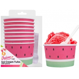 Pack Of 8 Watermelon Paper Ice Cream Tubs Sweet Treat Pudding Bowls With Spoons