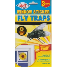 Doff 3 Pack Window sticker fly Traps - Attractive Flower Design - Fly killer