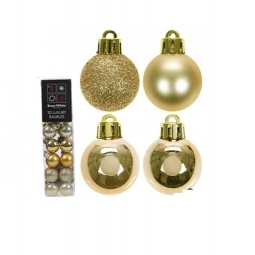 Snow White Set of 32 Luxury Mini Christmas Baubles in Gold 2.5cm