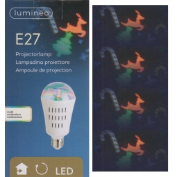 Lumineo E27 Christmas Projector Indoor LED Light Bulb Multi Colour Festive Shape