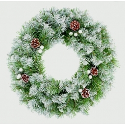 Snowy Tipped Berry Pinecone Premier 50cm Artificial Green Christmas Door Wreath