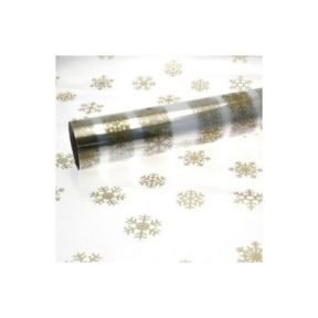 10M x 80cm Length Christmas Clear Cellophane Gift Wrap With Gold Snowflakes
