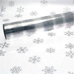10M x 80cm Length Silver Snowflake Christmas Clear Cellophane Gift Wrap