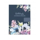Blue Floral A5 Silky Cover A-Z Birthday Address Book Contact Organiser Note Page